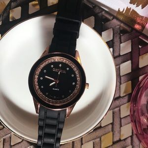 [GENEVA] Rose Gold & Black Watch with Silicon Band